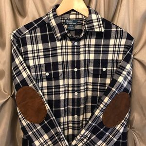 Polo Ralph Lauren Flannel Suede Elbows Lg 14-16